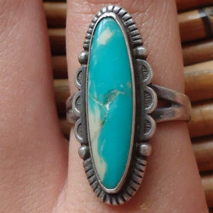 MC Modernist Southwestern Turquoise Sterling Ring